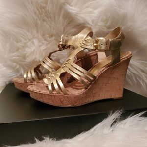 Audrey Brooke gold cork wedges